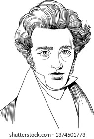 Soren Kierkegaard portrait in line art illustration. He was a Danish philosopher, theologian, poet, social critic and religious author who is considered to be the first existentialist philosopher.
