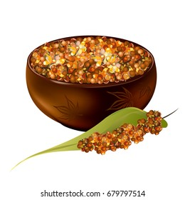 Sorghum (gaoliang, durra, milo, hegari, jowari, Sorghum bicolor). Hand drawn realistic vector illustration of brown sorghum grains in bowl with panicle isolated on white background.
