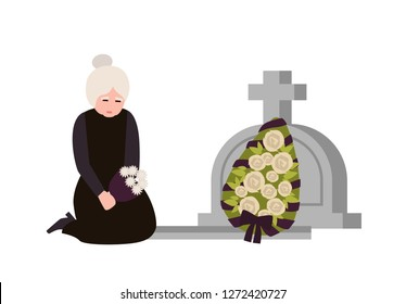 Sorrowful elderly woman dressed in mourning clothes crying near grave with headstone and wreath. Sad widow grieving on graveyard or cemetery. Colorful vector illustration in flat cartoon style.