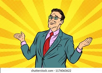 Sorry businessman spread his hands. Pop art retro vector illustration vintage kitsch