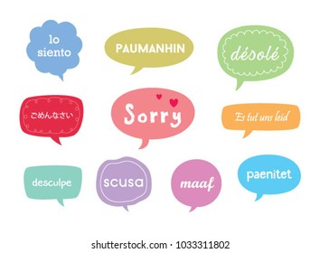 sorry card with different language. apologize card with different language.