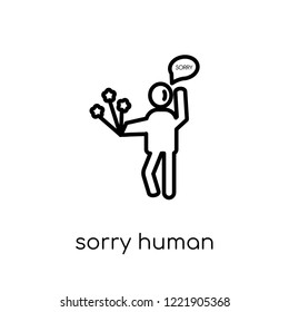 sorry human icon. Trendy modern flat linear vector sorry human icon on white background from thin line Feelings collection, editable outline stroke vector illustration
