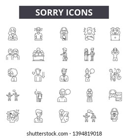 Sorry line icon signs.  Linear vector outline illustration set concept.