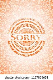 Sorry orange mosaic emblem with background