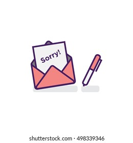 'Sorry' Written Inside An Envelope Letter With Pen On Side (Line Icon in Flat Style Vector Illustration Design)