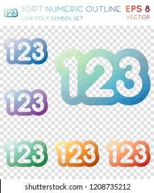 Sort numeric outline geometric polygonal icons. Bizarre mosaic style symbol collection. Fair low poly style. Modern design. Sort numeric outline icons set for infographics or presentation.
