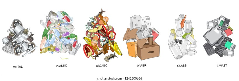 Sorted garbage set. Different types of garbage heap: Organic, Plastic, Metal, Paper, Glass, E-waste. Vector hand draw collection. Concept of Recycles Day, World Cleanup Day and ecology.