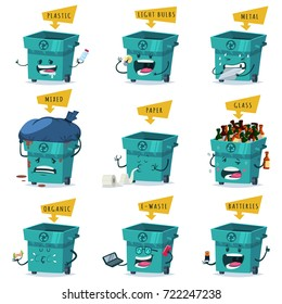 Sorting, recycling and waste disposal and trash. Vector cartoon character set of a cute and funny garbage can with different emotions which eats rubbish isolated on white background.