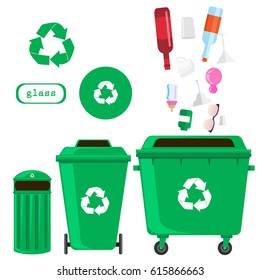 sorting of waste and recycling - glass. Symbols, types. Sorting garbage. Ecology and recycle concept. vector flat illustrations.