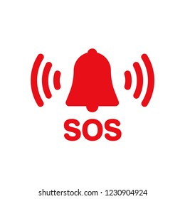 SOS bell red vector icon
