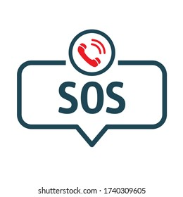 SOS emergency call - speech bubble icon. Vector illustration concept. Isolated on white background