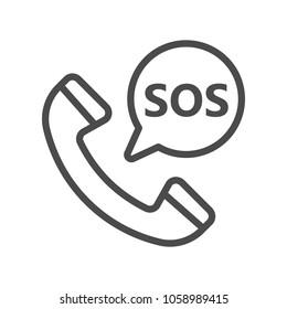SOS icon, logo illustration, line megaphone, Pixel perfect, eps 8