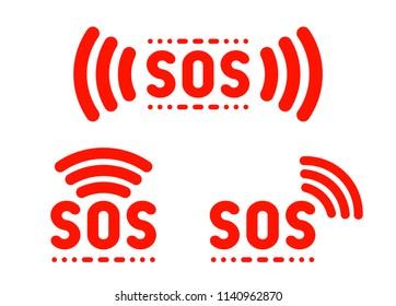 SOS sign, icon, label, marker set. Vector illustration