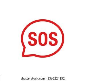 Sos sign. Vector sos vector sign.  Phone sos icon.