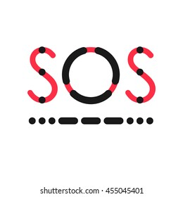 SOS symbol in international Morse Code. Visual presentation of distress call. Red letters shapes and black symbols isolated on white background - Vector illustration