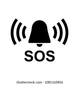 SOS Vector Icon, warning bell, help