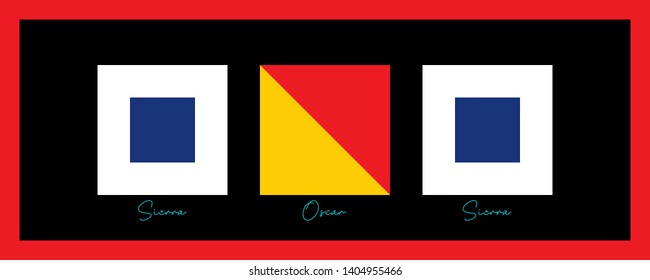 SOS, Wall Ornament For Ship. Prepared with International Maritime Sign Flags and Phonetics. Vector drawing related to maritime. Wall ornament, poster, flag, label, gift card, boat decoration,