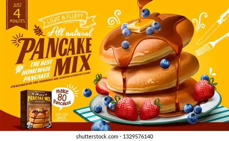 Souffle pancake mix ads with fresh fruits and honey sauce in 3d illustration, yellow background