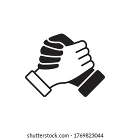 Soul brother handshake icon, thumb clasp handshake or homie handshake isolated on white background, friendship or deal business concept, vector icon for apps and websites