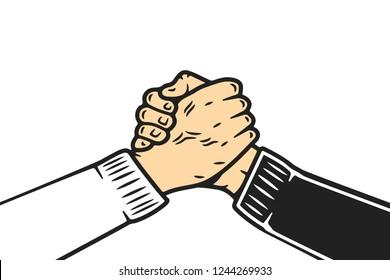Soul brother handshake, thumb clasp handshake or homie handshake, cartoon style on isolated white background