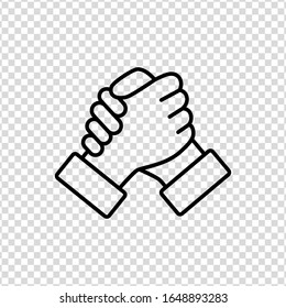 Soul brother handshake thumb clasp homie line icon on a transparent background