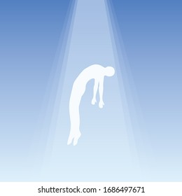 The soul flies to heaven, ghost of a man taken up into heaven. Soul ascension in heavenly light, Consciousness and body human faith and person. Afterlife, meditation and dream vector concept