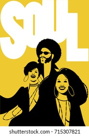 Soul Music Poster. Group of man and two girls. Retro Style