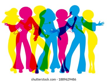 Soul Party Time. Dancers of soul, funk or disco on white background
