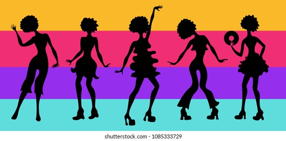 Soul Party Time. Dancers of soul silhouette funk or disco.People in 1980s, eighties style clothes dancing disco, cartoon vector illustration on striped background. Retro woman in 80s style clothing