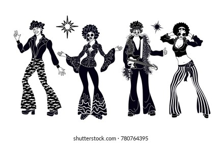 Soul Party Time. Dancers of soul silhouette funk or disco.People in 1980s, eighties style clothes dancing disco, cartoon vector illustration isolated on white.Men and women in 80s style clothing