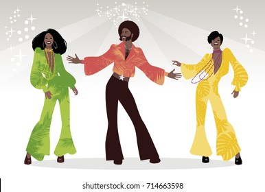 Soul Party Time. Group of man and two girls dancing soul, funk or disco music. Retro style.