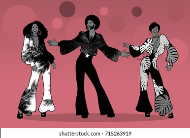 Soul Party Time. Group of man and two girls dancing soul, funk or disco. Retro style.