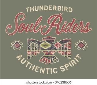 Soul riders , American native style artwork for shirt grunge effect in separate layer