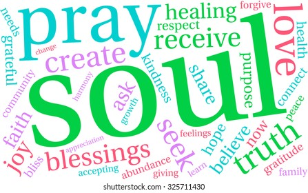 Soul word cloud on a white background.