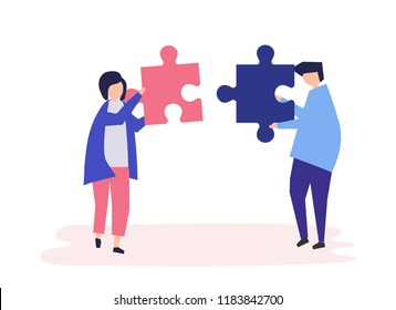 Soulmates connecting jigsaw pieces together