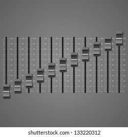 Sound adjusting record equipment, vector illustration of panel of sound mixer console