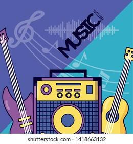 sound amplifier classic eletric guitar festival music poster vector illustration