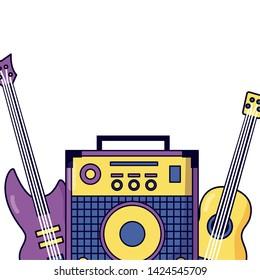 sound amplifier classic eletric guitar festival music vector illustration