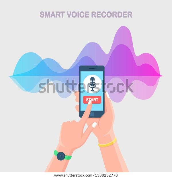 Sound Audio Gradient Wave Equalizer Cellphone Stock Vector