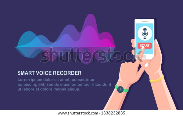 Sound Audio Gradient Wave Equalizer Cellphone Stock Vector (Royalty