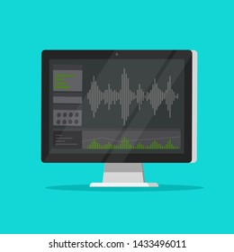 Sound or audio recorder or editor software on computer screen, flat cartoon monitor with audio mixer studio icon isolated