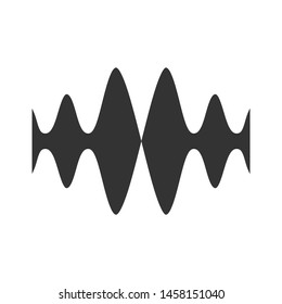 Sound, audio wave glyph icon. Silhouette symbol. Vibration, noise amplitude. Music rhythm frequency. Radio signal, voice recording logo. Energy wavy lines. Negative space. Vector isolated illustration