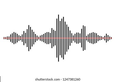 Sound / audio wave or soundwave line art for music apps and websites. Black and white vector illustration