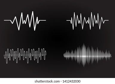 Sound audio wave vector. Icon set isolated on black background. Abstract sound waves for voice design, music background, radio logo and icon.Creative music audio concept. Soundwave vector illustration