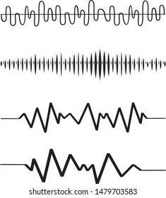 Sound audio wave. Vector set isolated on white background. Sound waves for voice recording tattoo, music audio icon, eq, radio logo and waveform. Musical melody design.