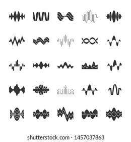 Sound and audio waves glyph icons set. Silhouette symbols. Music digital curve soundwaves. Voice recording, radio signals, wavy lines. Vibration, noise amplitudes level. Vector isolated illustration