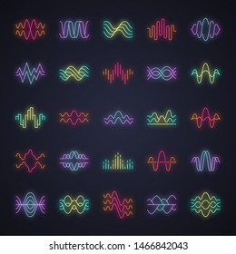 Sound and audio waves neon light icons set. Glowing signs. Music digital curve soundwaves. Voice recording, radio signals. Vibration, noise amplitudes level. Wavy lines. Vector isolated illustrations