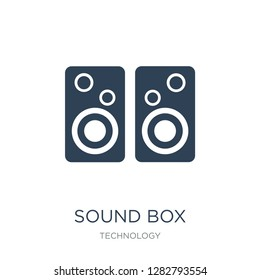 sound box icon vector on white background, sound box trendy filled icons from Technology collection, sound box vector illustration