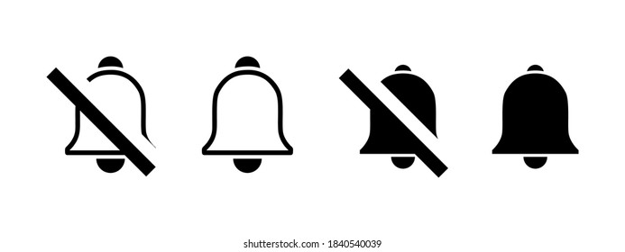 Sound contact icon set. bells icon set. Approve and avoid sound contact. Notification bells social media. Message bell icon. Set bell symbols for web, app, ui. Social media web element. EPS 10