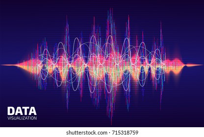 Sound data visualization. Fractal element with lines and dots array. Digital sound wave. Big data processing. Voice Data array visual concept. Electronic music abstract background. Vector illustration